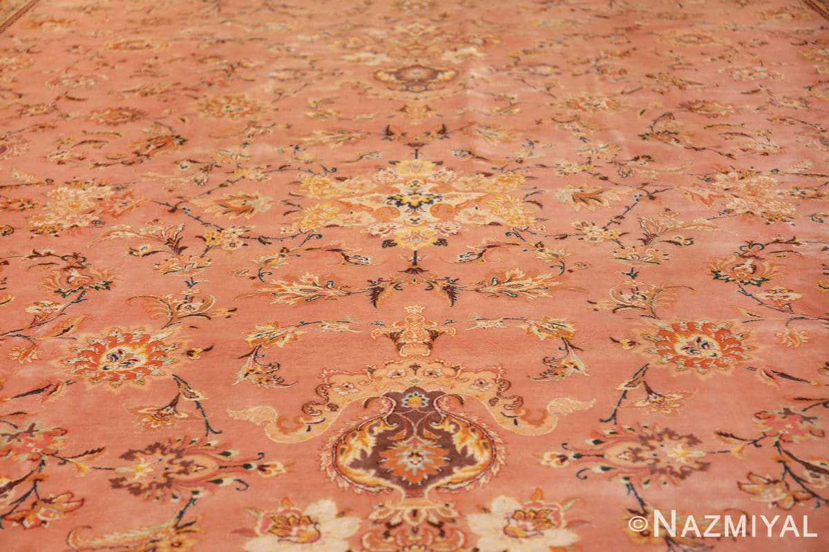 large silk and wool vintage tabriz persian rug 60014 field Nazmiyal