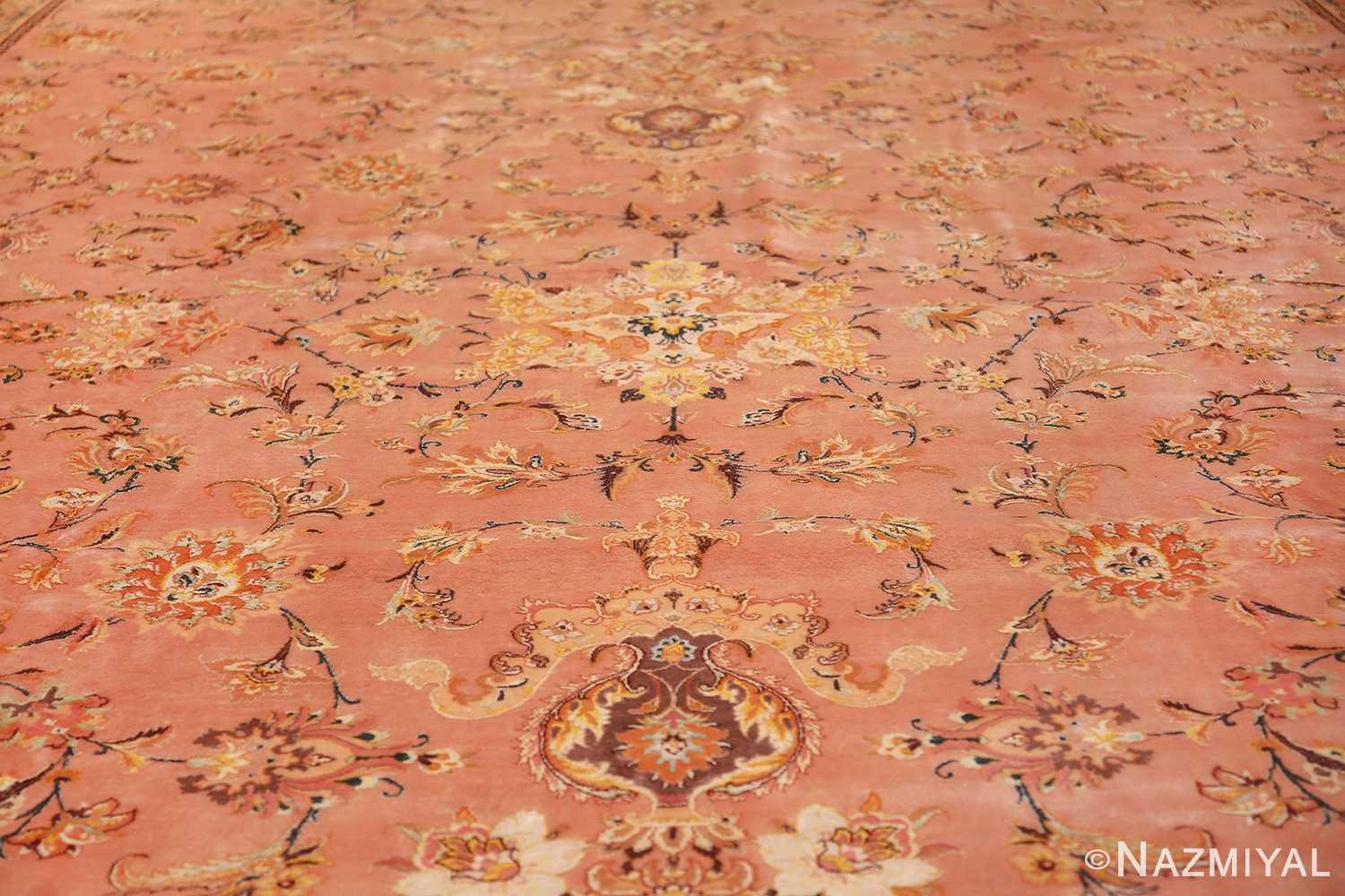 large silk and wool vintage tabriz persian rug 60014 field Nazmiyal