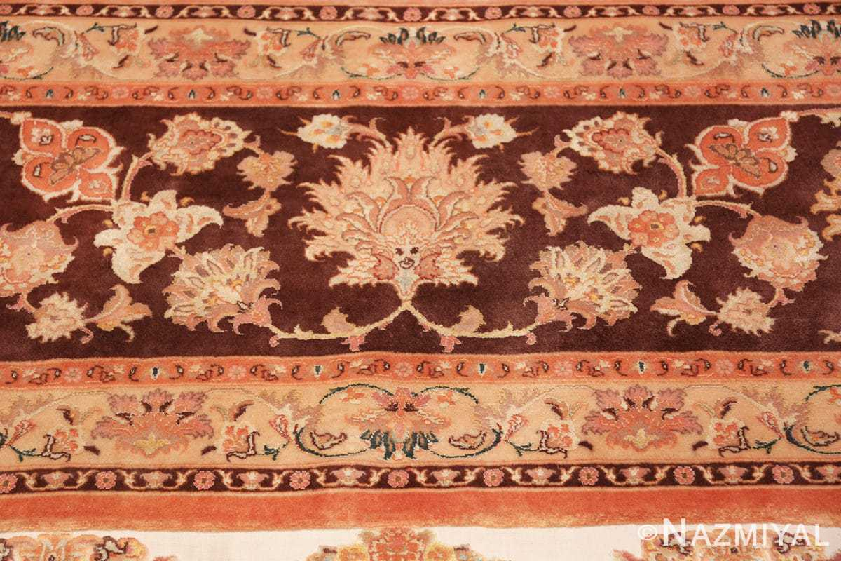 large silk and wool vintage tabriz persian rug 60014 fire Nazmiyal