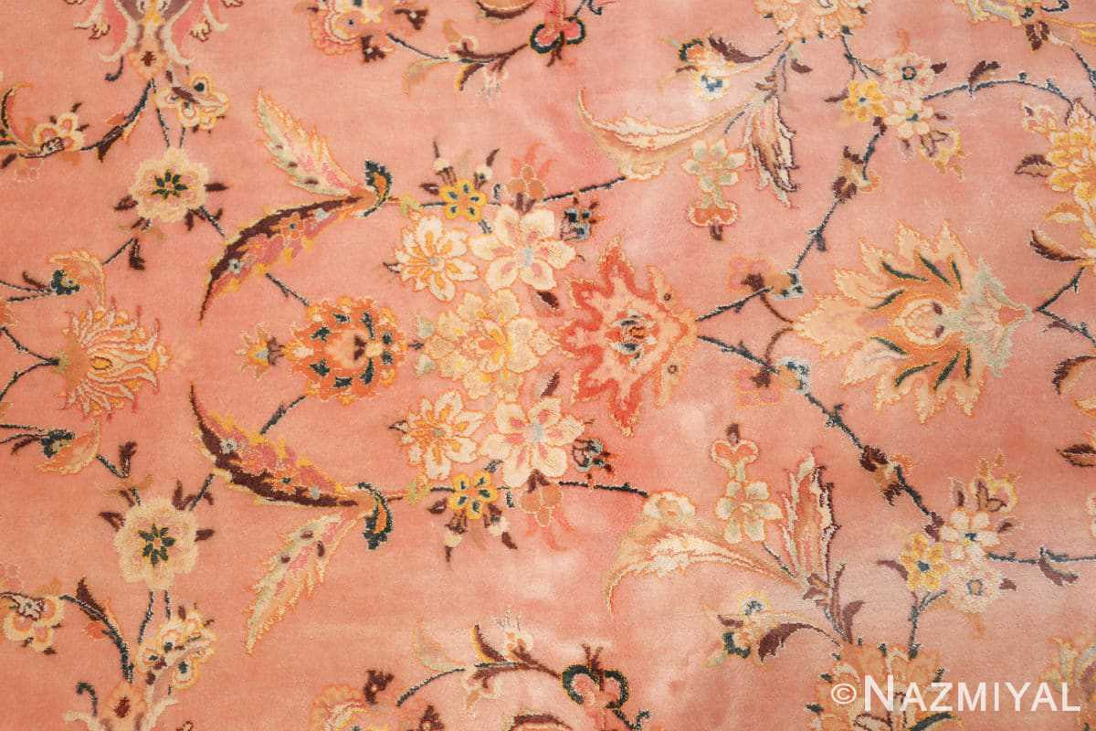 large silk and wool vintage tabriz persian rug 60014 flowers Nazmiyal