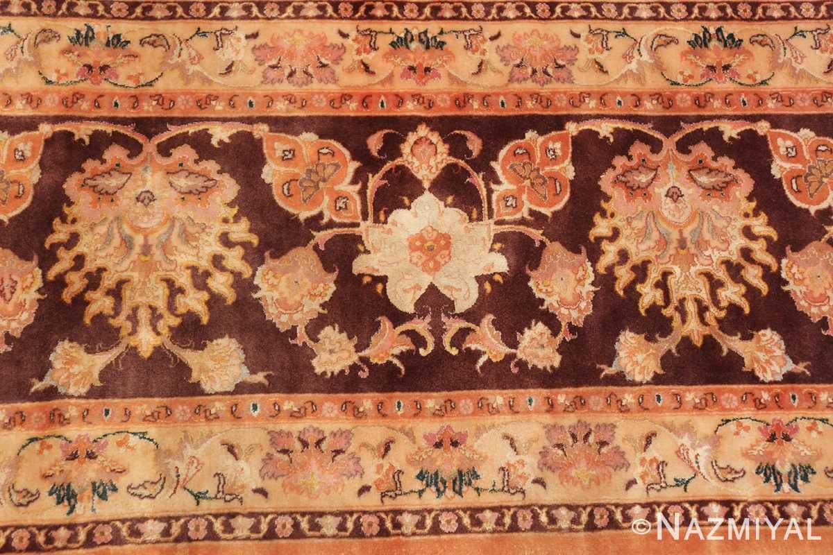 large silk and wool vintage tabriz persian rug 60014 ivory Nazmiyal