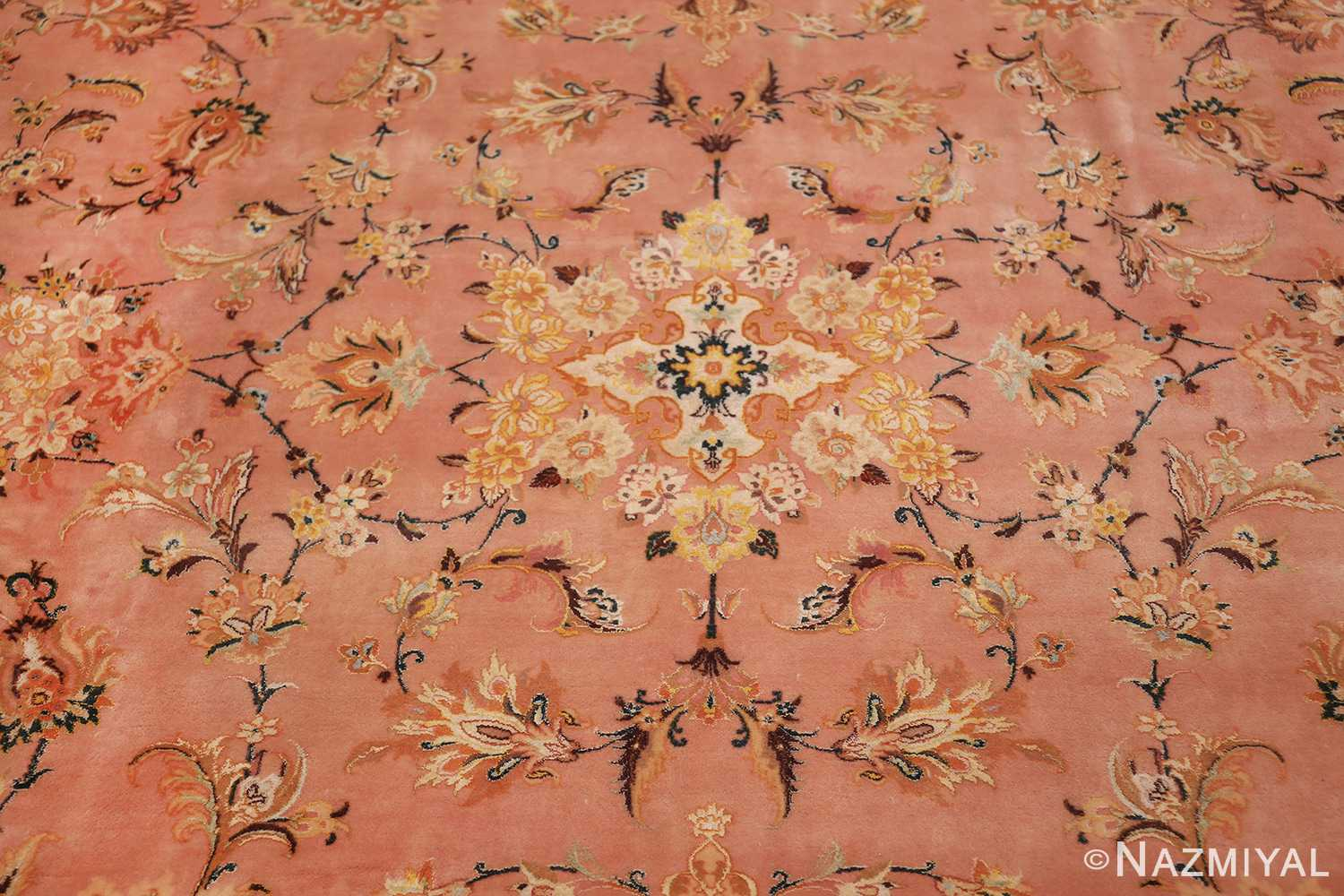 large silk and wool vintage tabriz persian rug 60014 medallion Nazmiyal