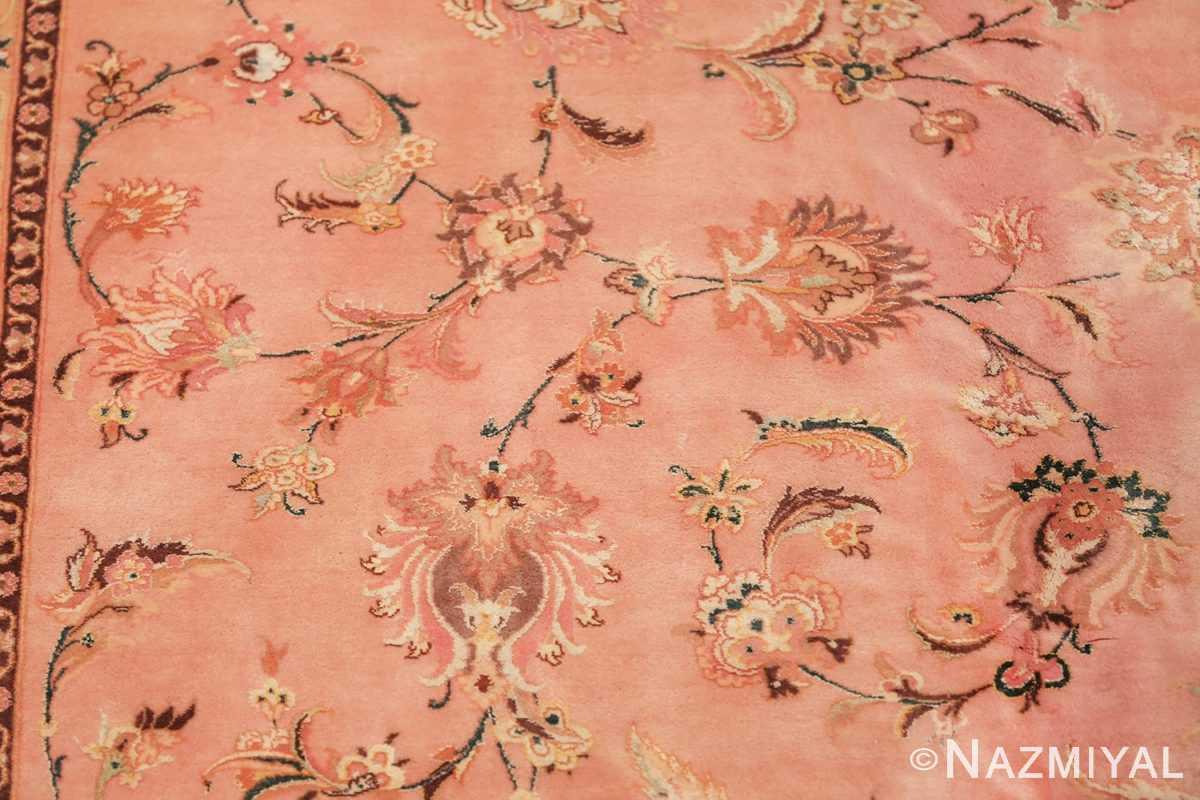 large silk and wool vintage tabriz persian rug 60014 scrolls Nazmiyal