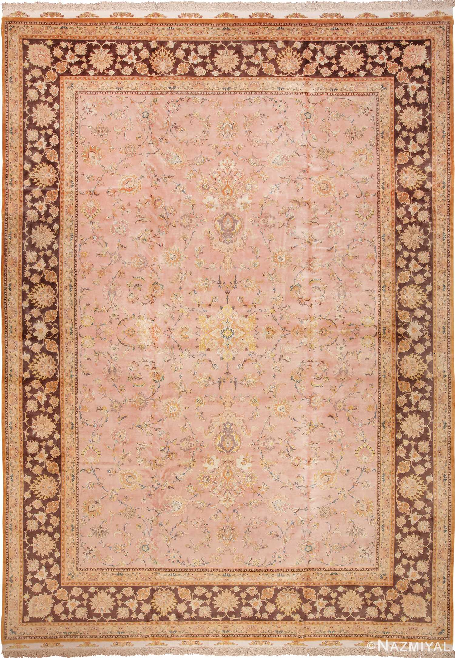 Large Light Pink Silk and Wool Vintage Persian Tabriz Rug 60014 by Nazmiyal