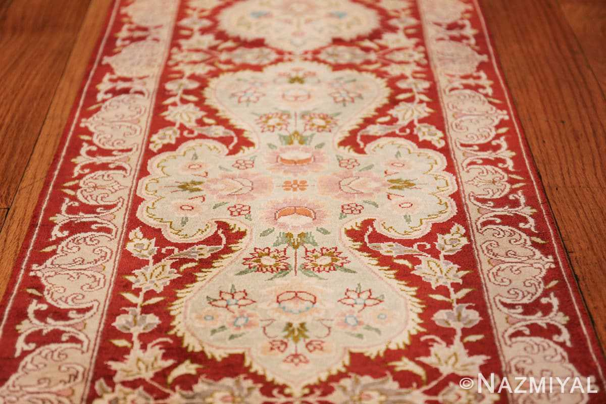 long and narrow silk vintage qum persian rug 49603 medallion Nazmiyal