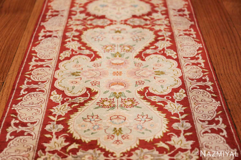 long and narrow silk vintage qum persian rug 49603 medallion Nazmiyal