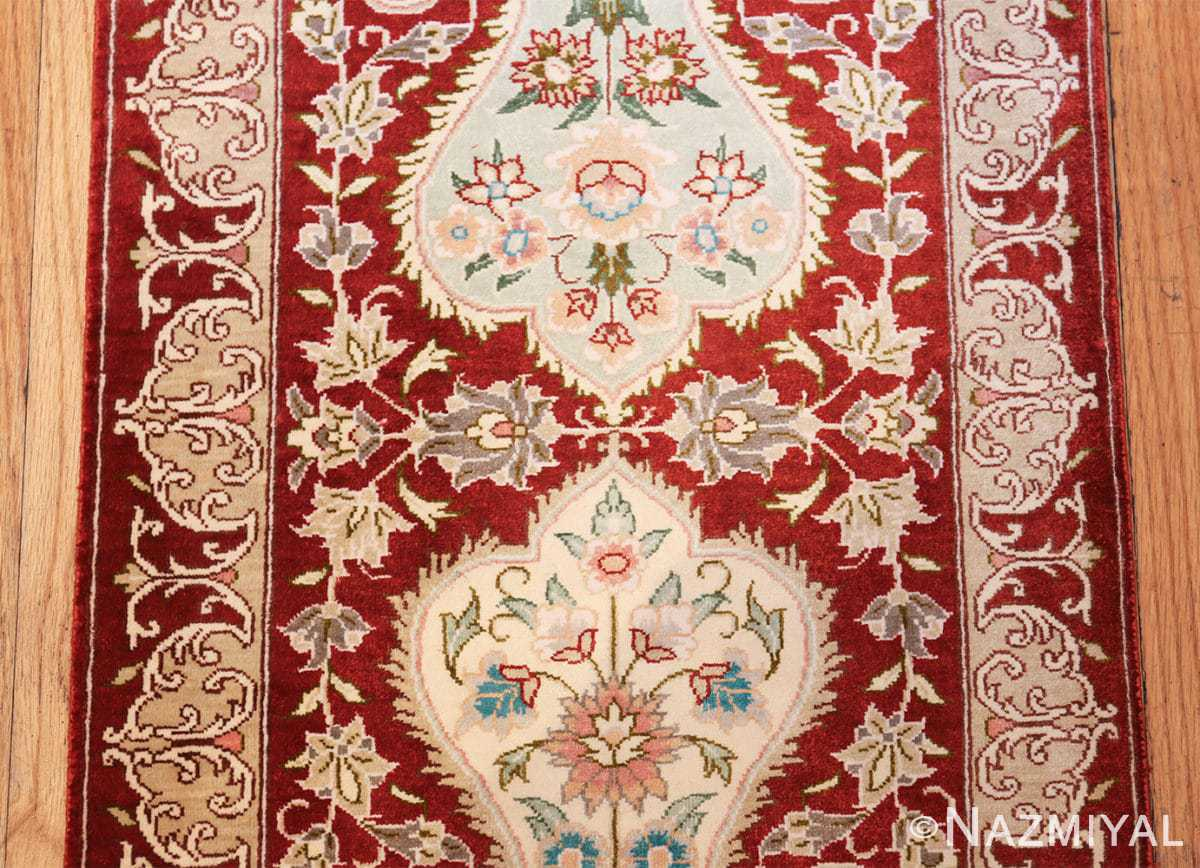 long and narrow silk vintage qum persian rug 49603 middle Nazmiyal