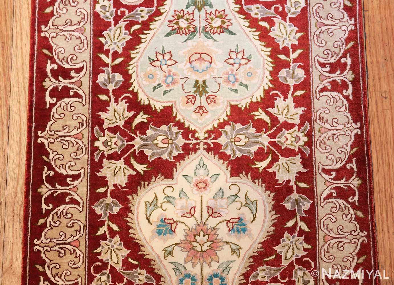 long and narrow silk vintage qum persian rug 49603 middle Nazmiyal