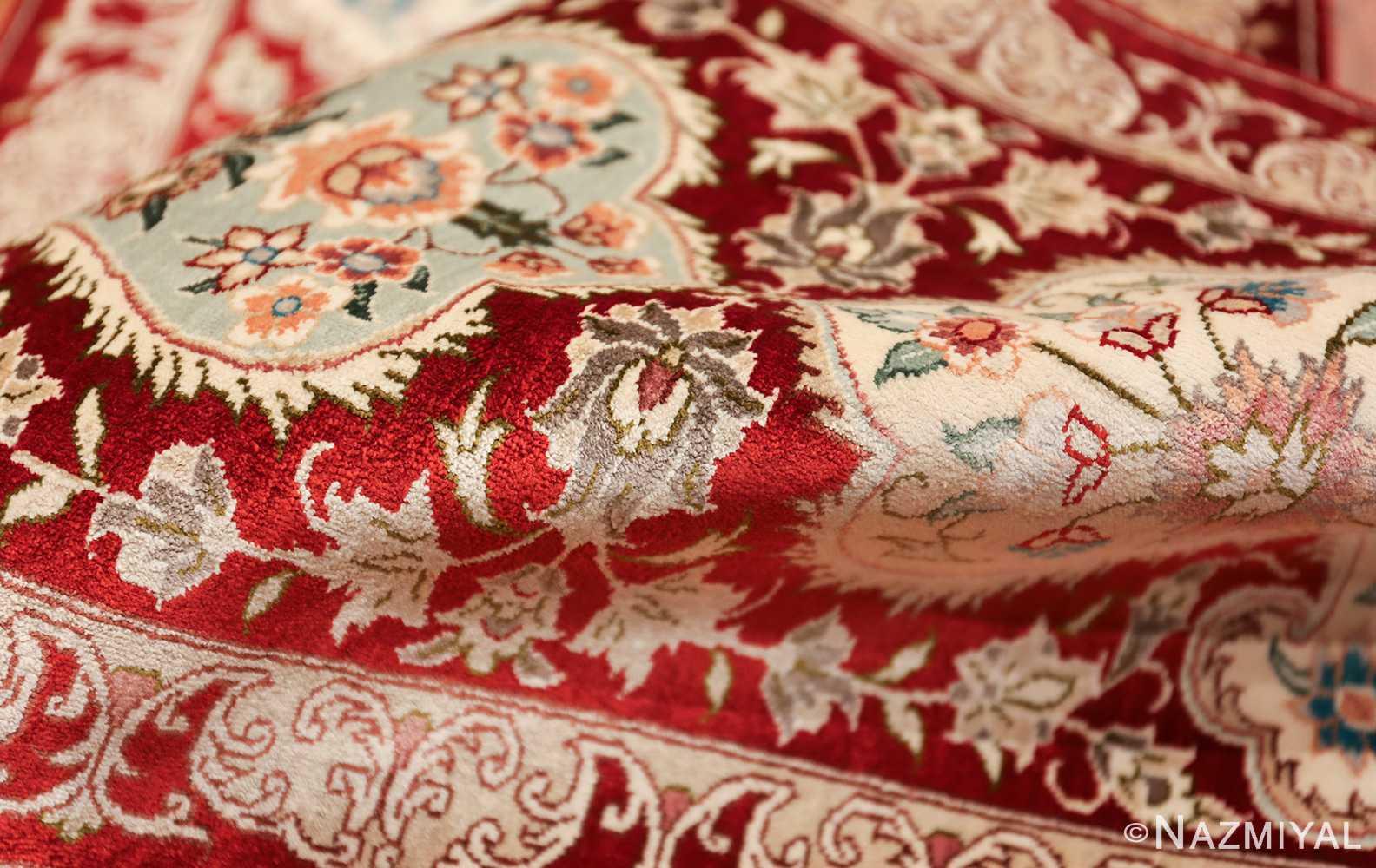 long and narrow silk vintage qum persian rug 49603 pile Nazmiyal