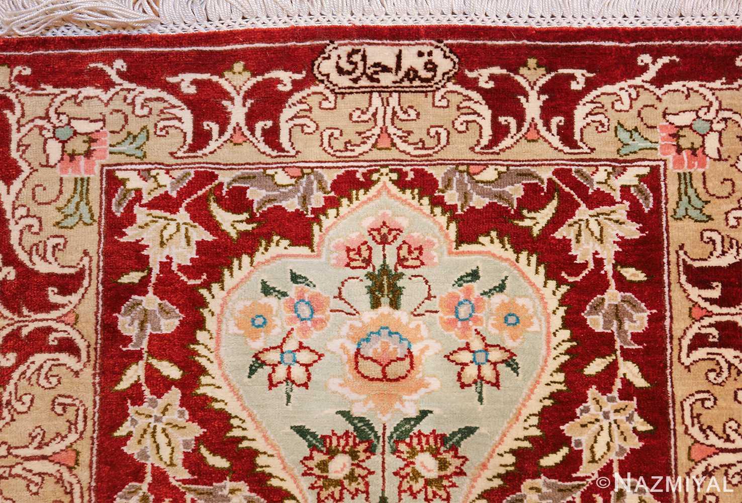 long and narrow silk vintage qum persian rug 49603 signature Nazmiyal