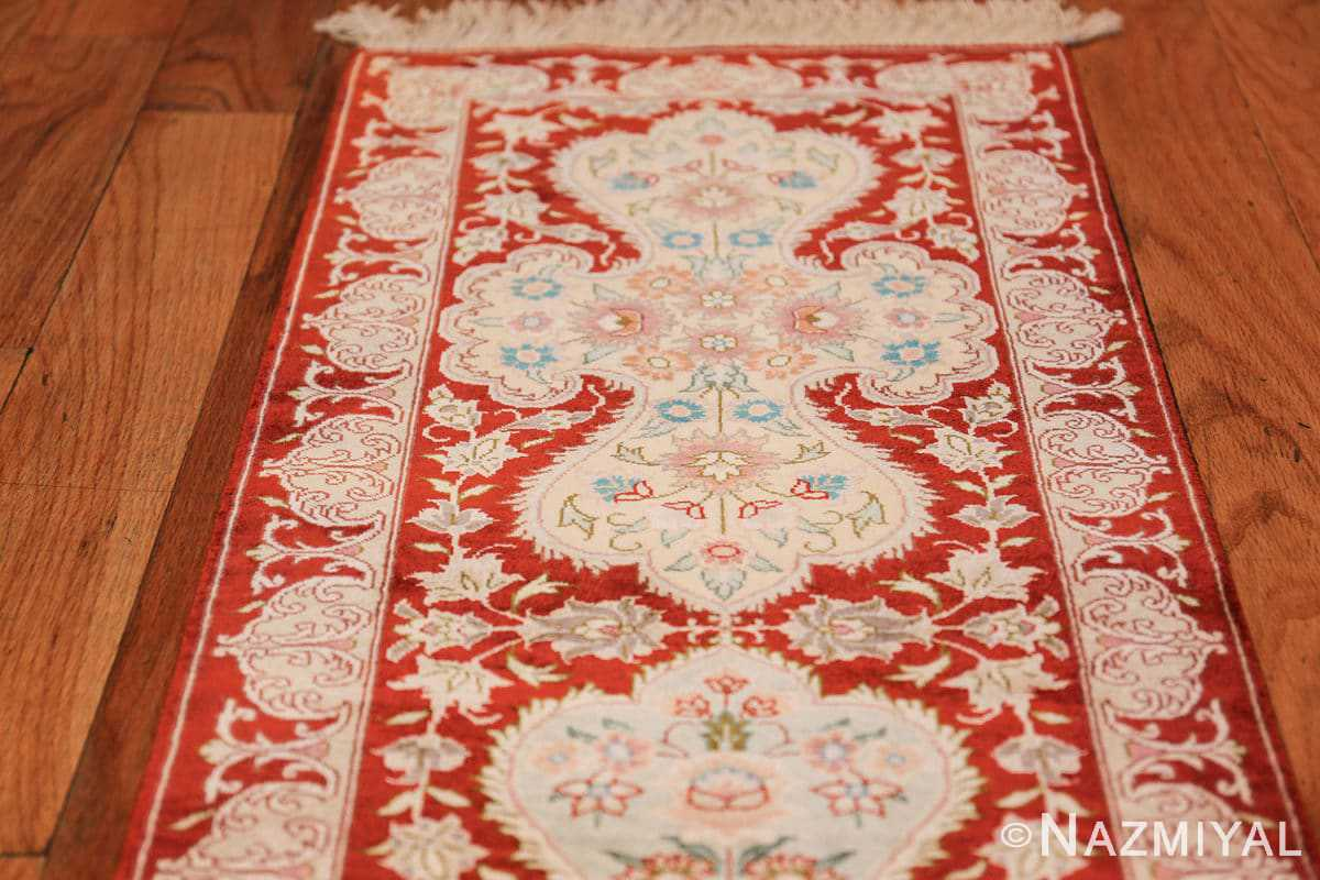 long and narrow silk vintage qum persian rug 49603 top Nazmiyal