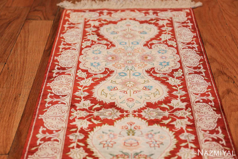 long and narrow silk vintage qum persian rug 49603 top Nazmiyal