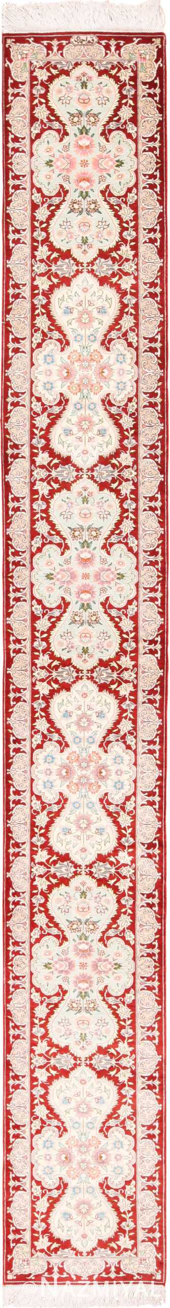 Narrow Vintage Red Persian Silk Qum Rug Runner 49603 by Nazmiyal