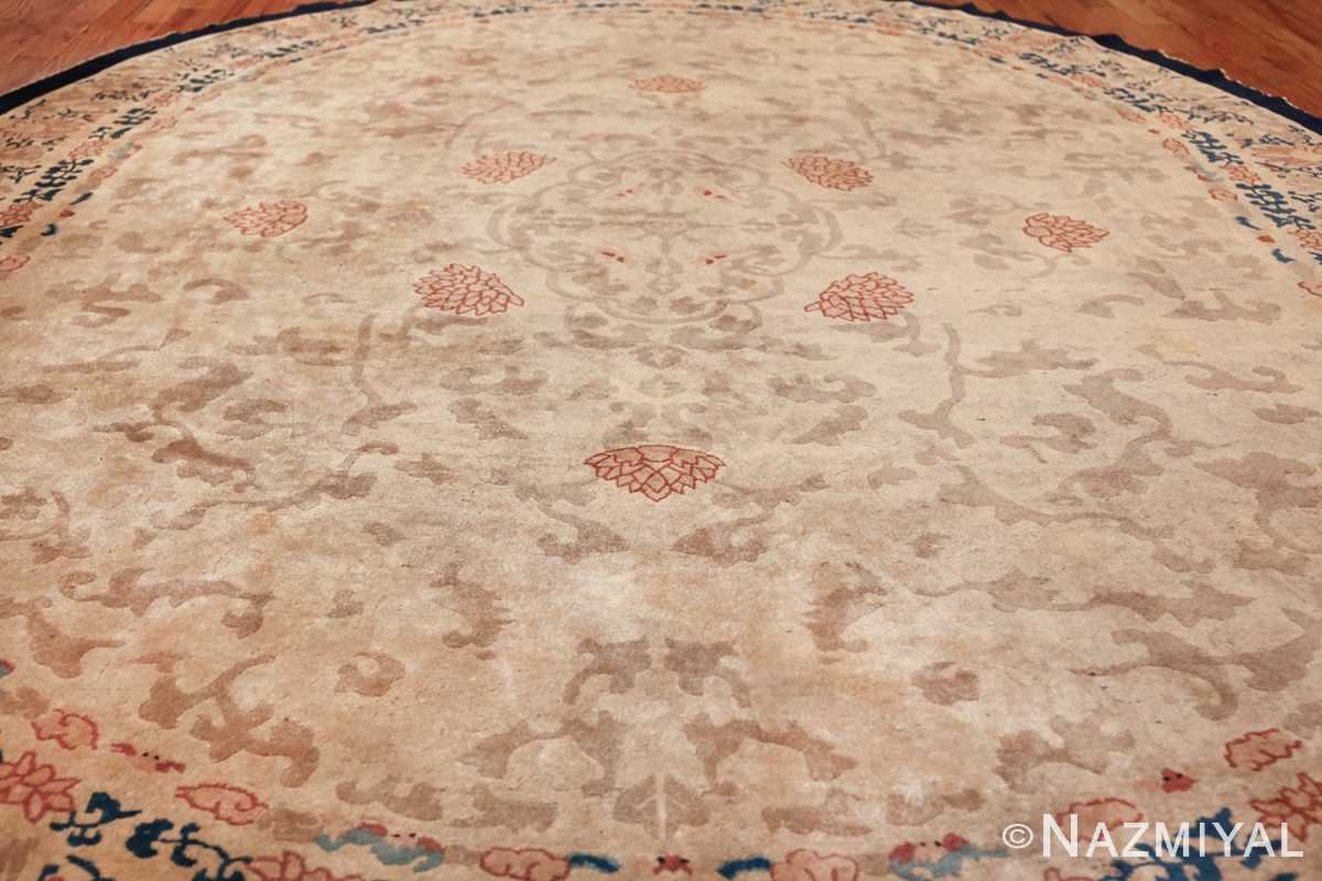 oval antique ivory background chinese rug 49592 field Nazmiyal