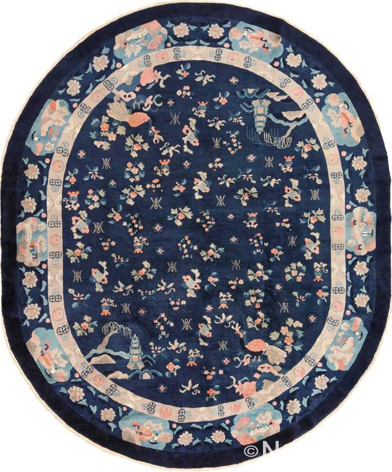 Oval Navy Blue Background Antique Chinese Rug 49593 by Nazmiyal