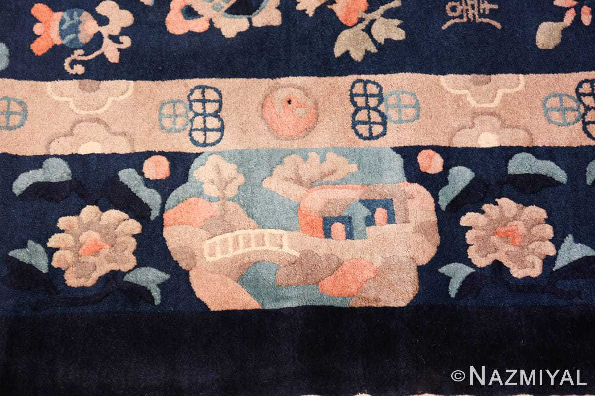 round antique navy background chinese rug 49593 border Nazmiyal