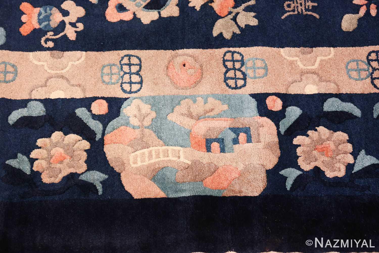 round antique navy background chinese rug 49593 border Nazmiyal