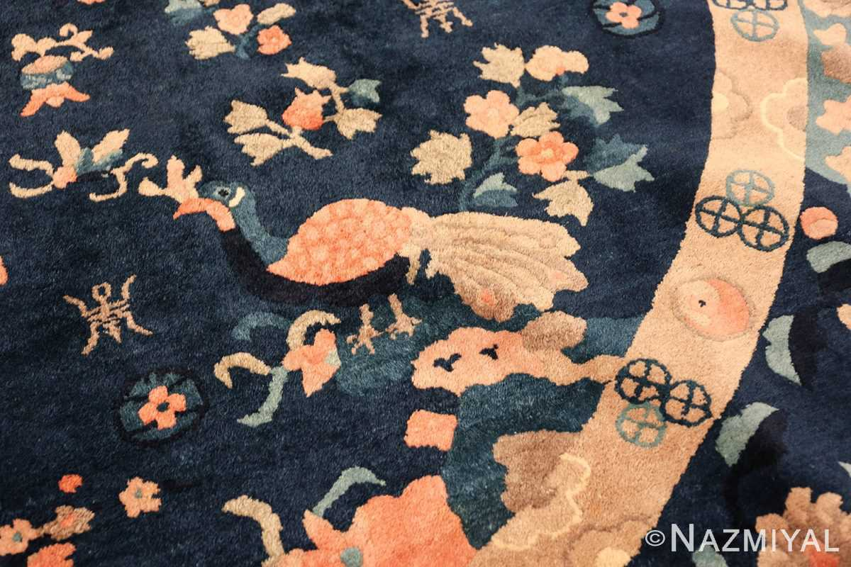 round antique navy background chinese rug 49593 part Nazmiyal