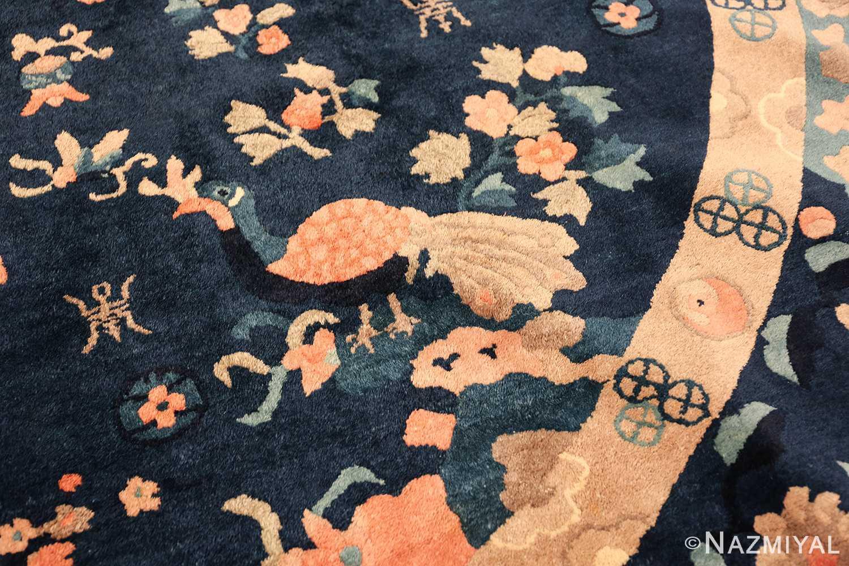 round antique navy background chinese rug 49593 part Nazmiyal
