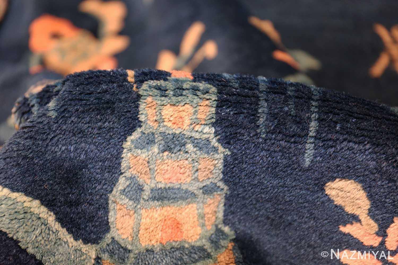 round antique navy background chinese rug 49593 pile Nazmiyal