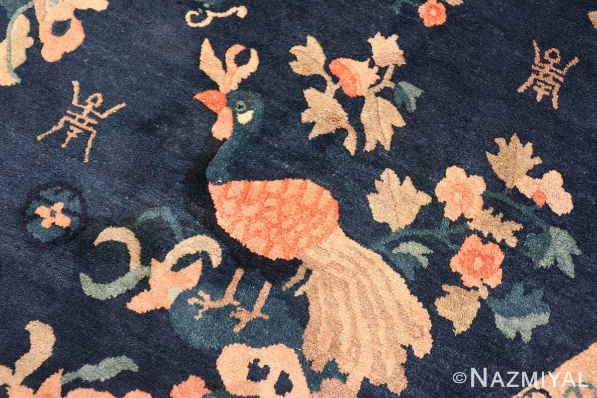 round antique navy background chinese rug 49593 rooster Nazmiyal