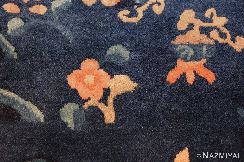 round antique navy background chinese rug 49593 rose Nazmiyal