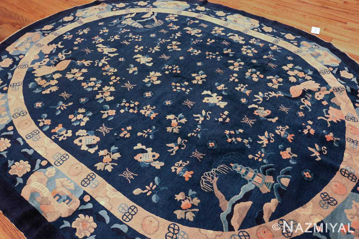 round antique navy background chinese rug 49593 side Nazmiyal