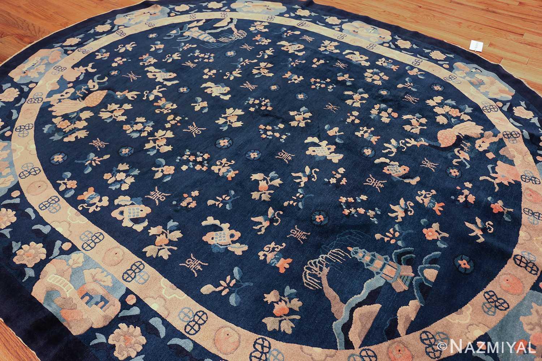 round antique navy background chinese rug 49593 side Nazmiyal
