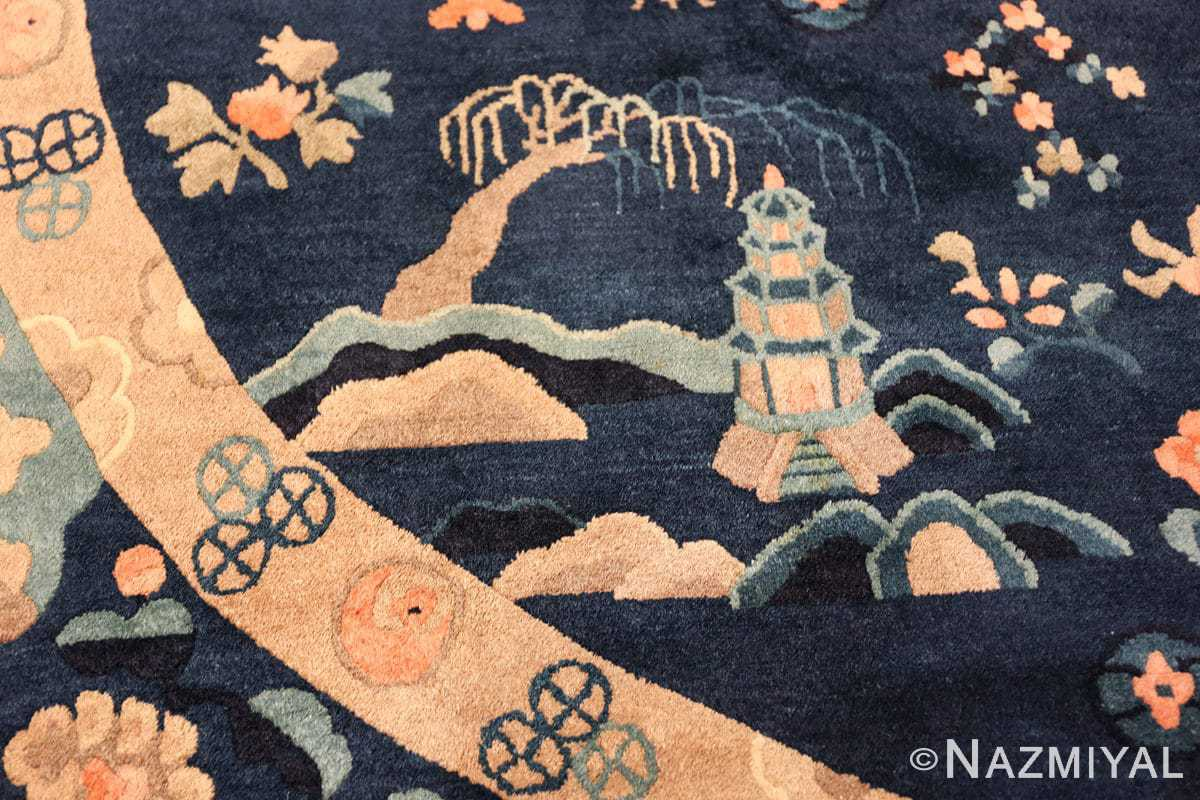 round antique navy background chinese rug 49593 temple Nazmiyal