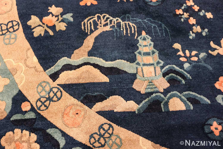 round antique navy background chinese rug 49593 temple Nazmiyal