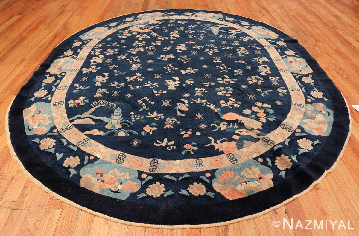 round antique navy background chinese rug 49593 whole Nazmiyal
