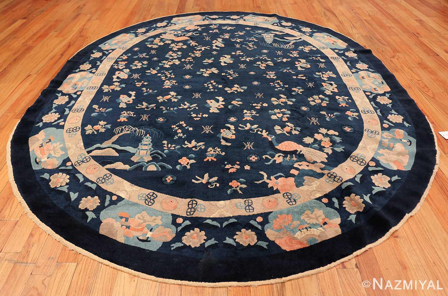 round antique navy background chinese rug 49593 whole Nazmiyal