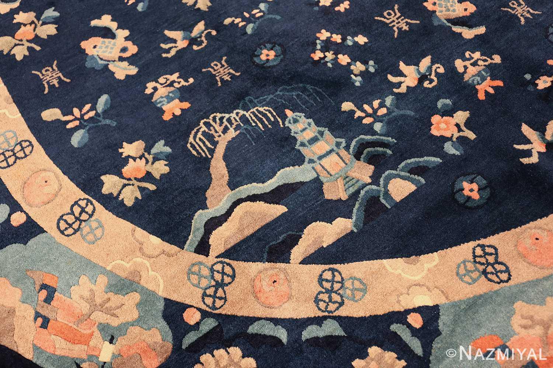 round antique navy background chinese rug 49593 wider Nazmiyal