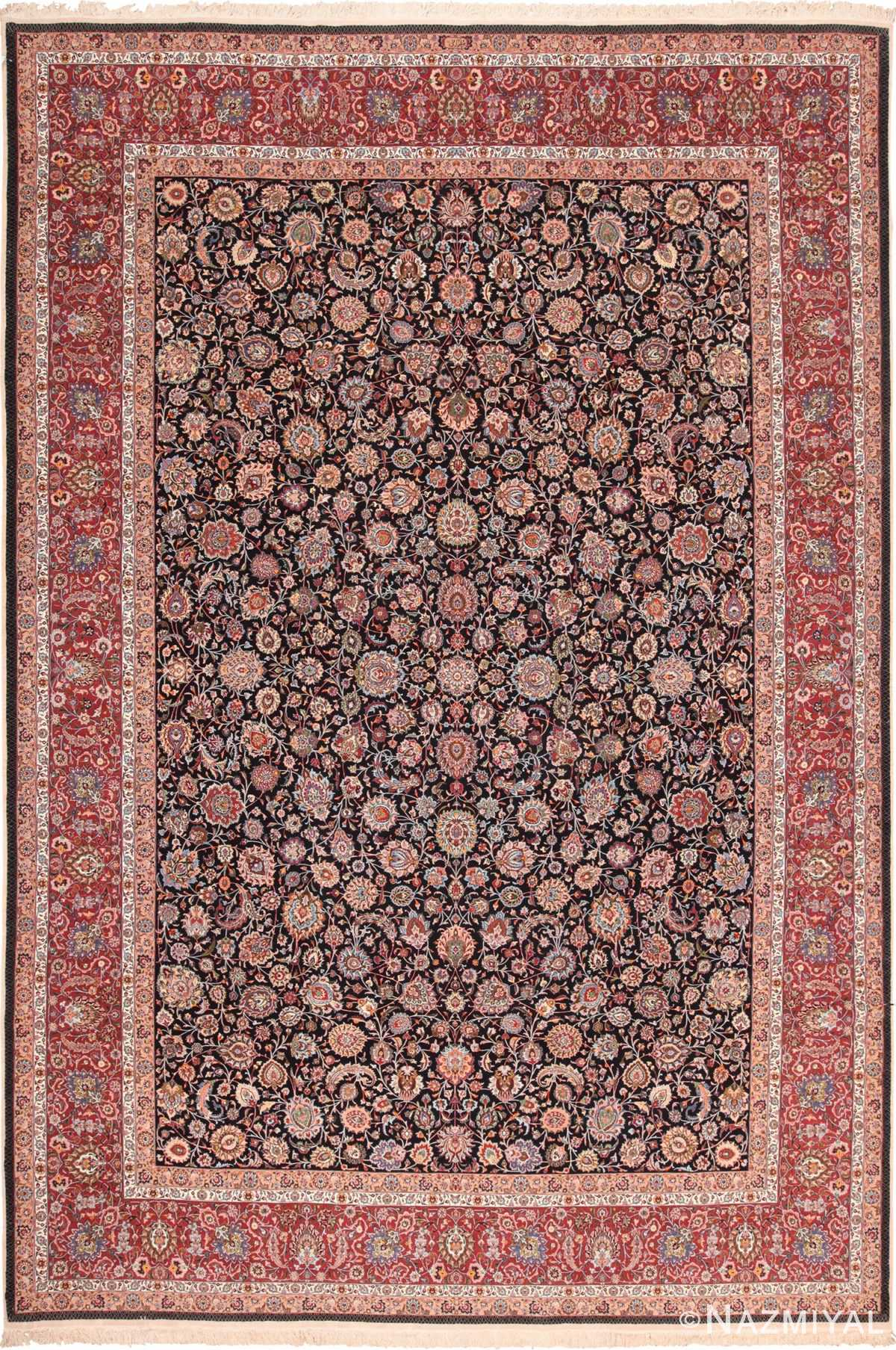 Fine Vintage Floral Silk and Wool Persian Khorassan Rug 60018 by Nazmiyal