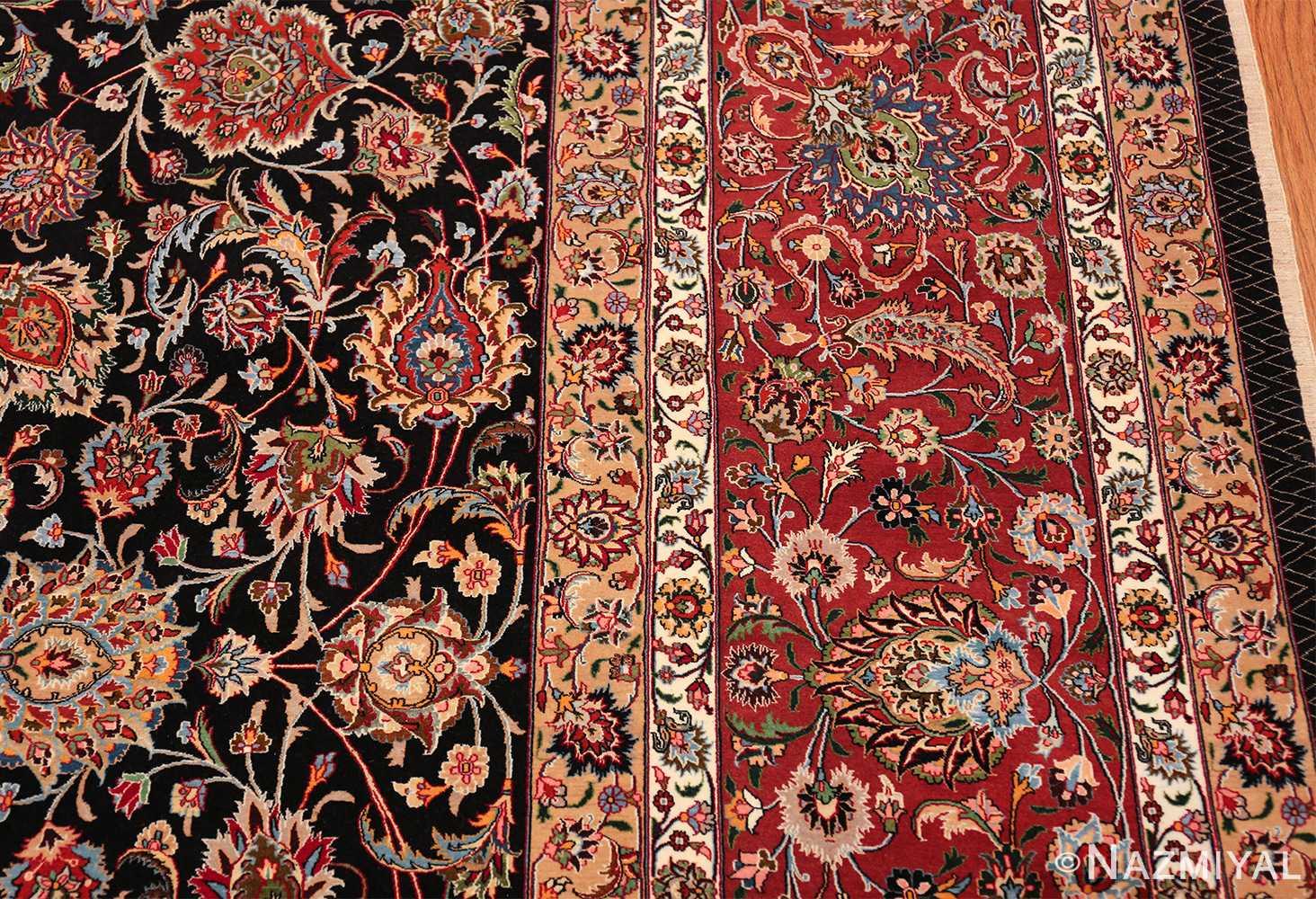 silk and wool fine floral vintage khorassan persian rug 60018 border Nazmiyal