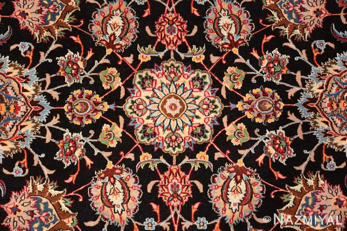 silk and wool fine floral vintage khorassan persian rug 60018 center Nazmiyal