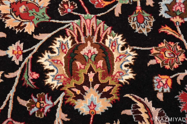 silk and wool fine floral vintage khorassan persian rug 60018 closeup Nazmiyal