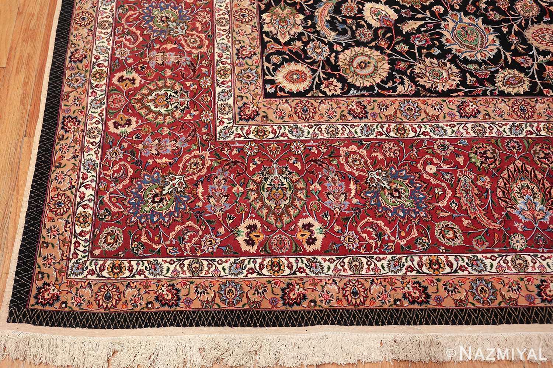 silk and wool fine floral vintage khorassan persian rug 60018 corner Nazmiyal