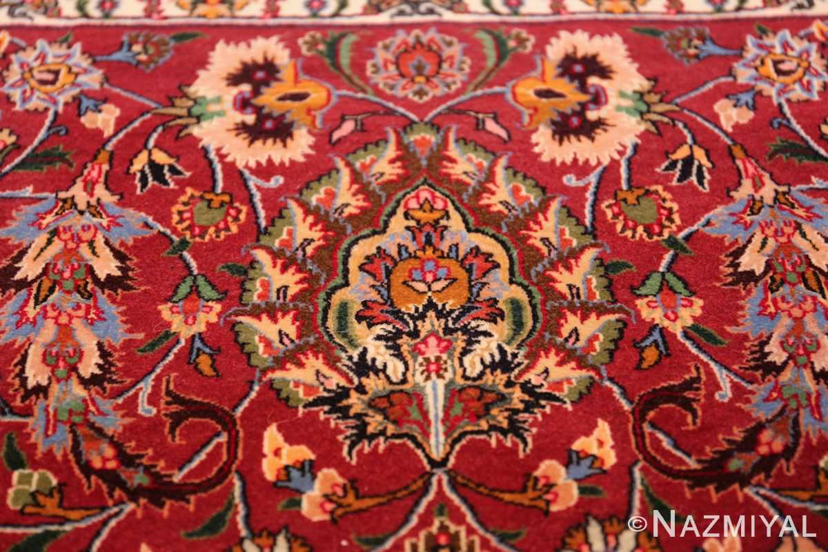 silk and wool fine floral vintage khorassan persian rug 60018 detailed Nazmiyal