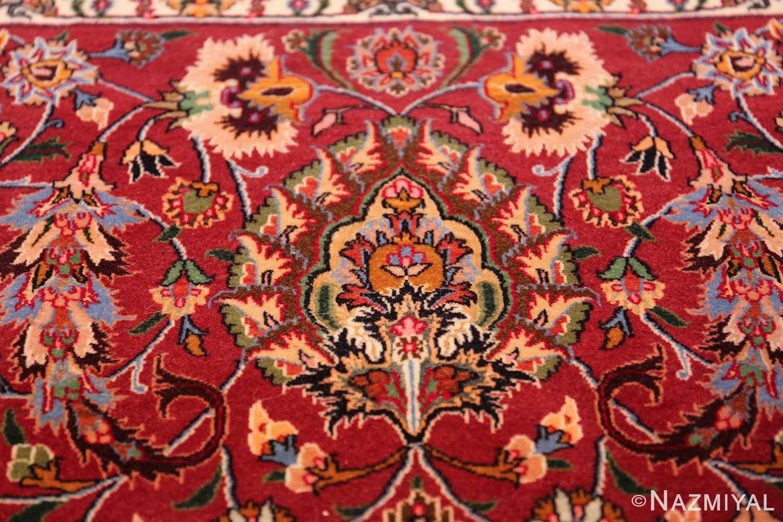 silk and wool fine floral vintage khorassan persian rug 60018 detailed Nazmiyal