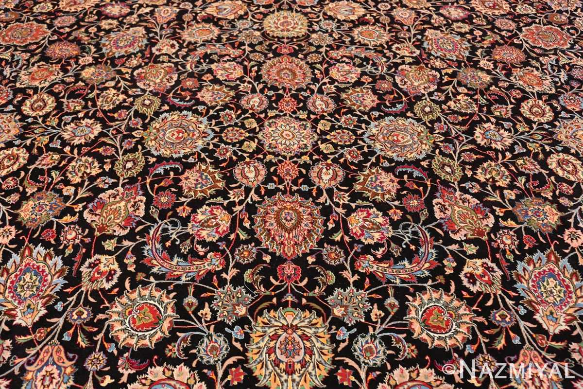 silk and wool fine floral vintage khorassan persian rug 60018 field Nazmiyal