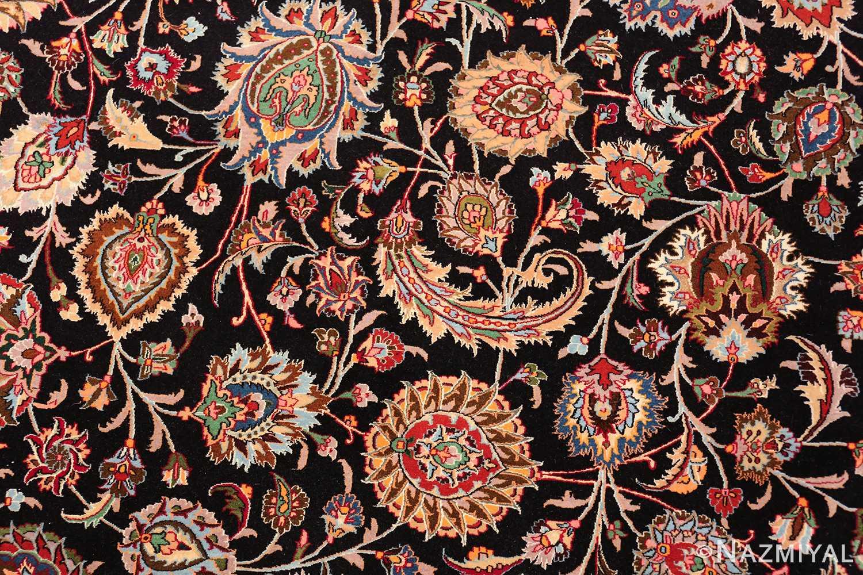silk and wool fine floral vintage khorassan persian rug 60018 flowers Nazmiyal