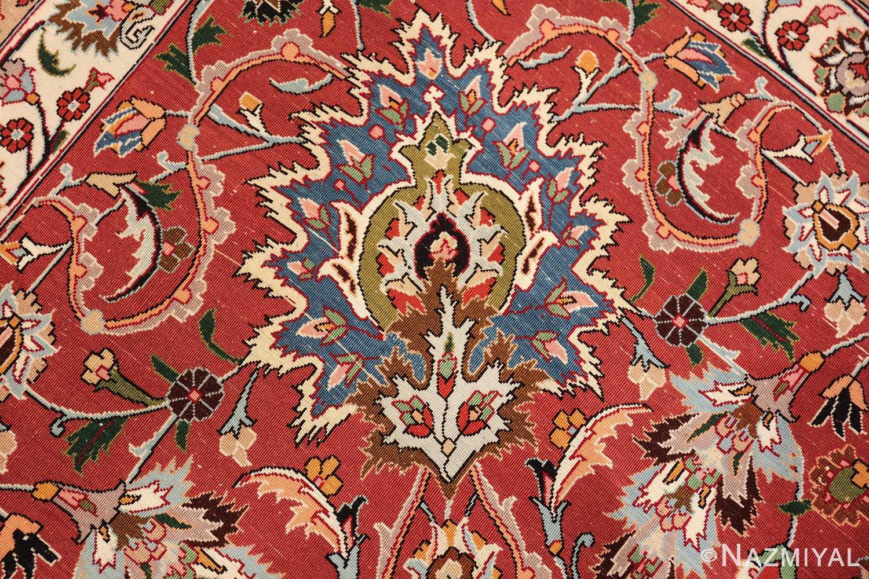 silk and wool fine floral vintage khorassan persian rug 60018 knots Nazmiyal