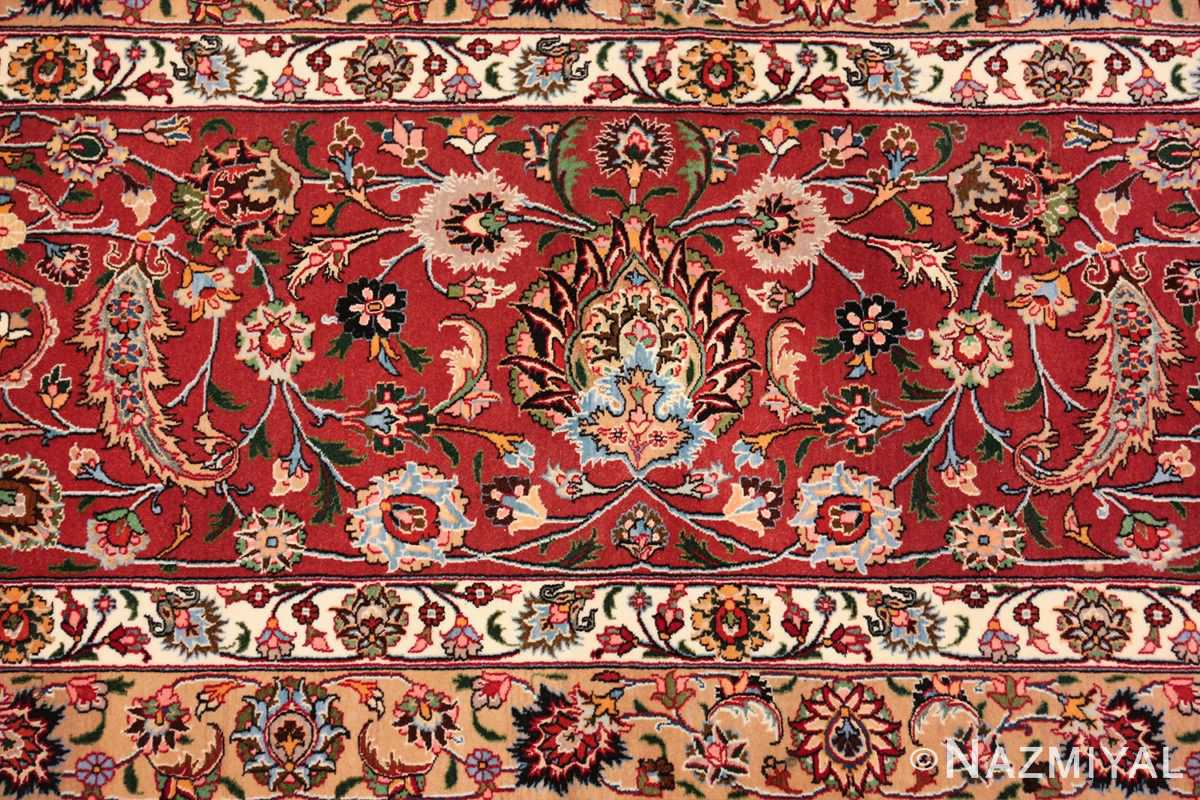 silk and wool fine floral vintage khorassan persian rug 60018 red Nazmiyal