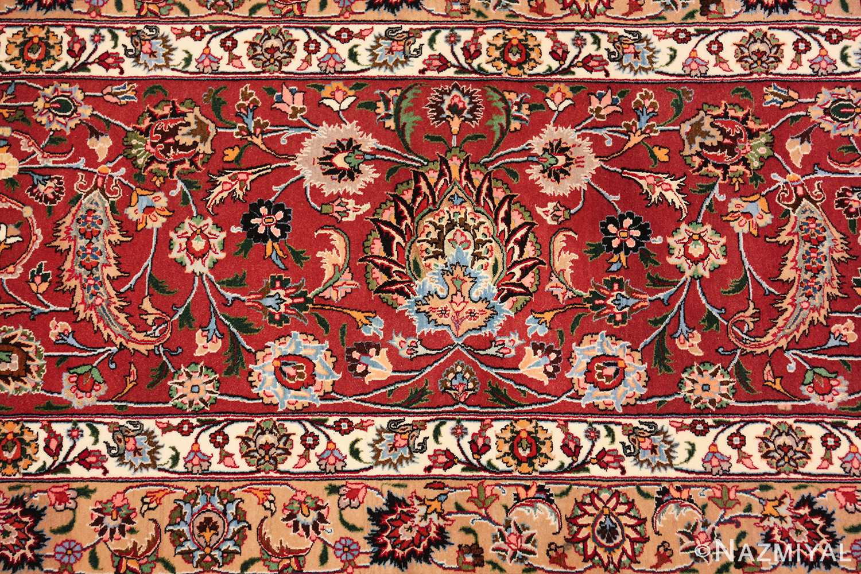 silk and wool fine floral vintage khorassan persian rug 60018 red Nazmiyal