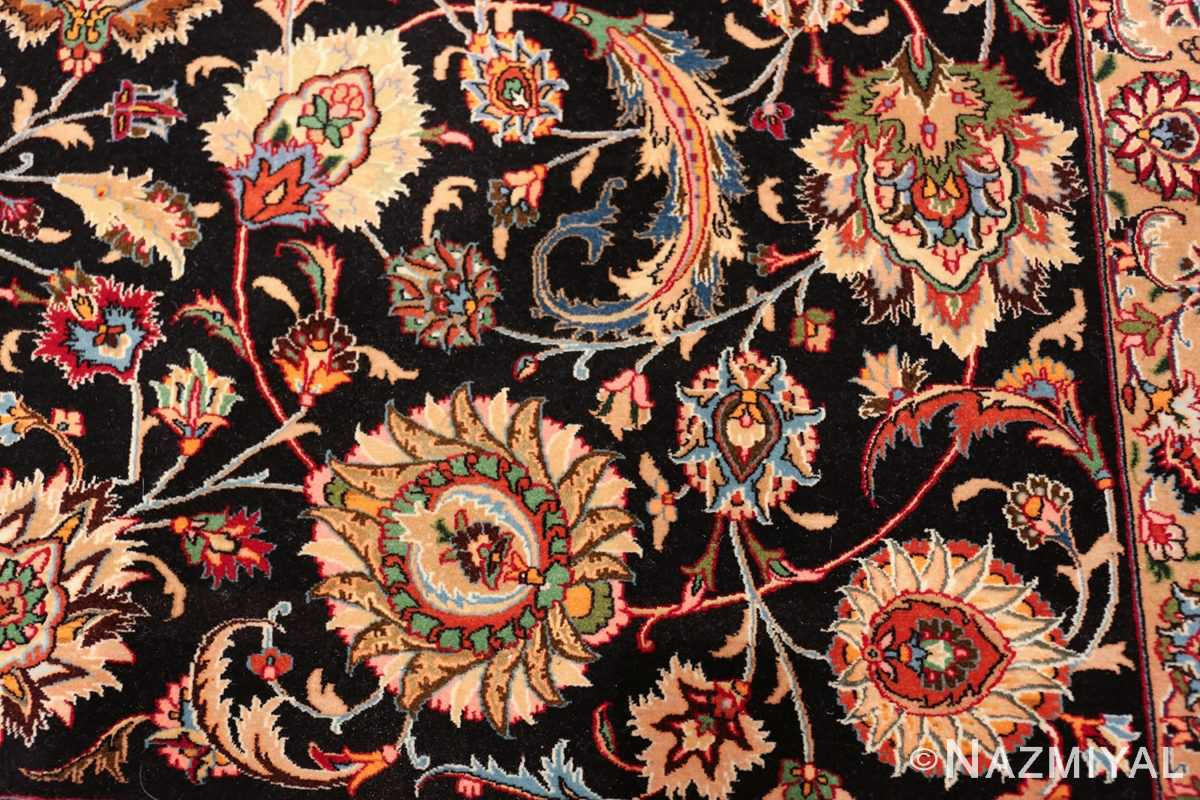 silk and wool fine floral vintage khorassan persian rug 60018 scrolls Nazmiyal