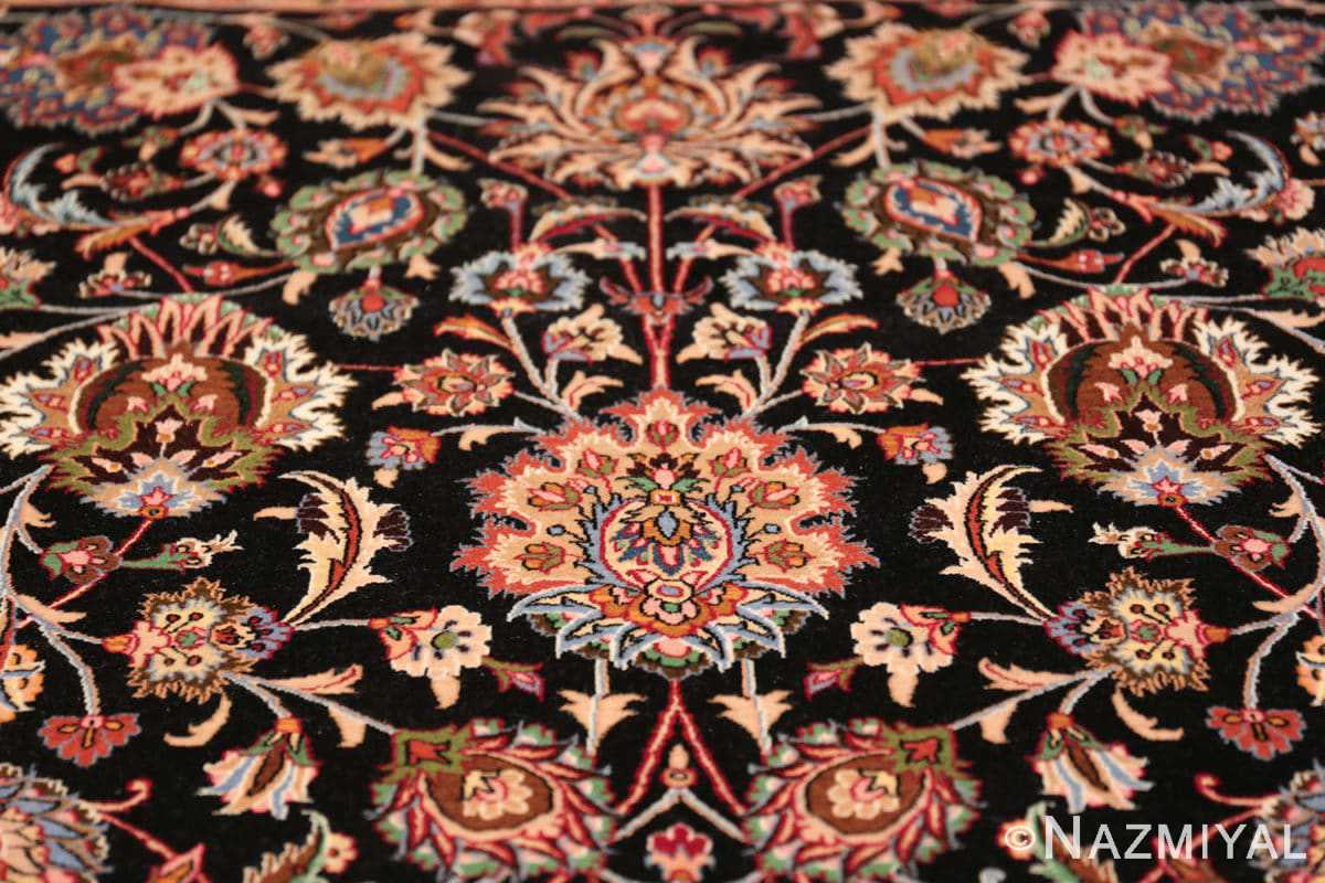 silk and wool fine floral vintage khorassan persian rug 60018 top Nazmiyal