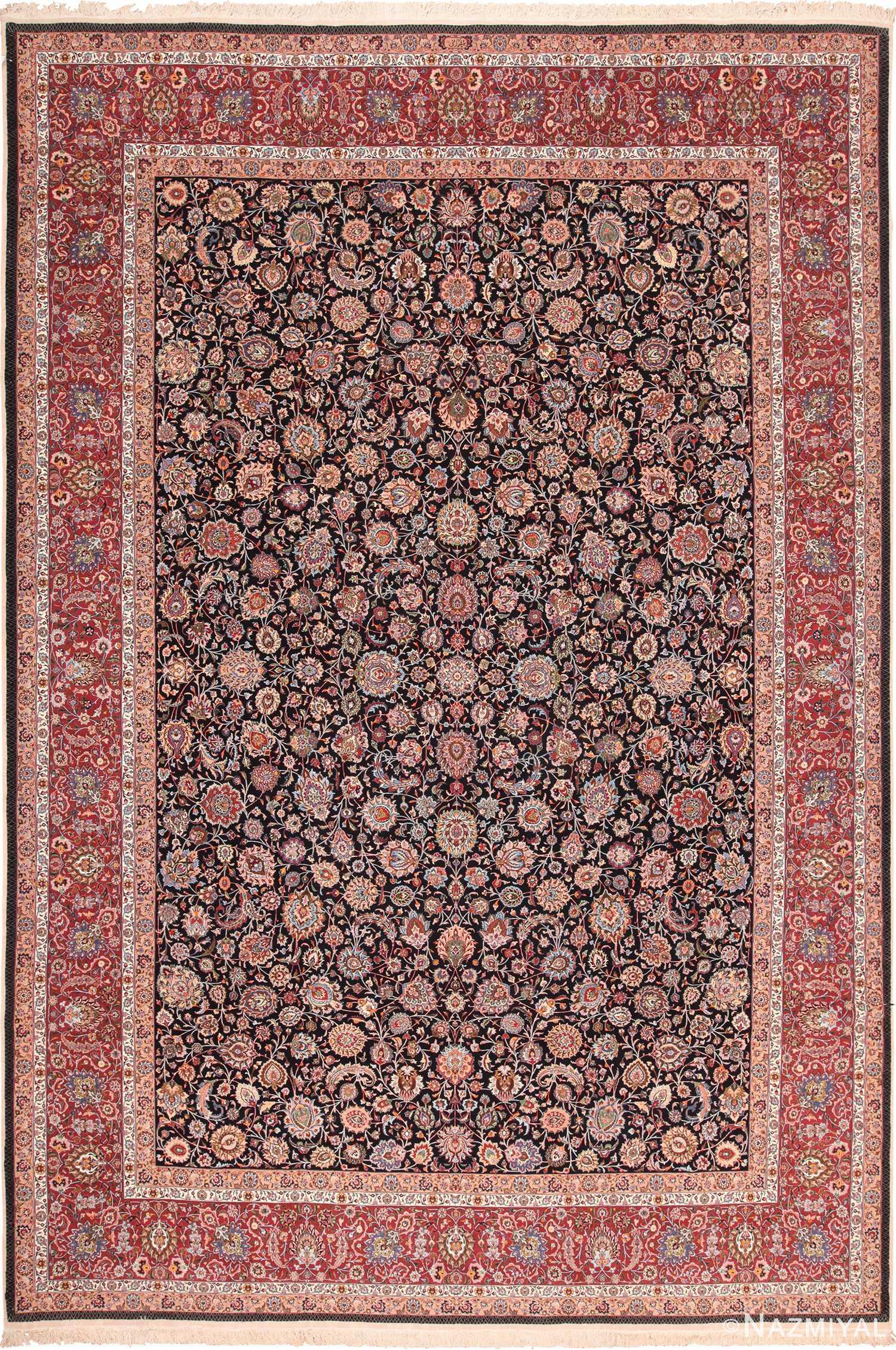 Vintage Floral Silk And Wool Persian Khorassan Rug 60018 Nazmiyal