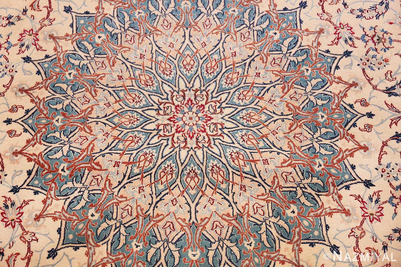 Vintage Silk And Wool Large Nain Persian Rug 60029