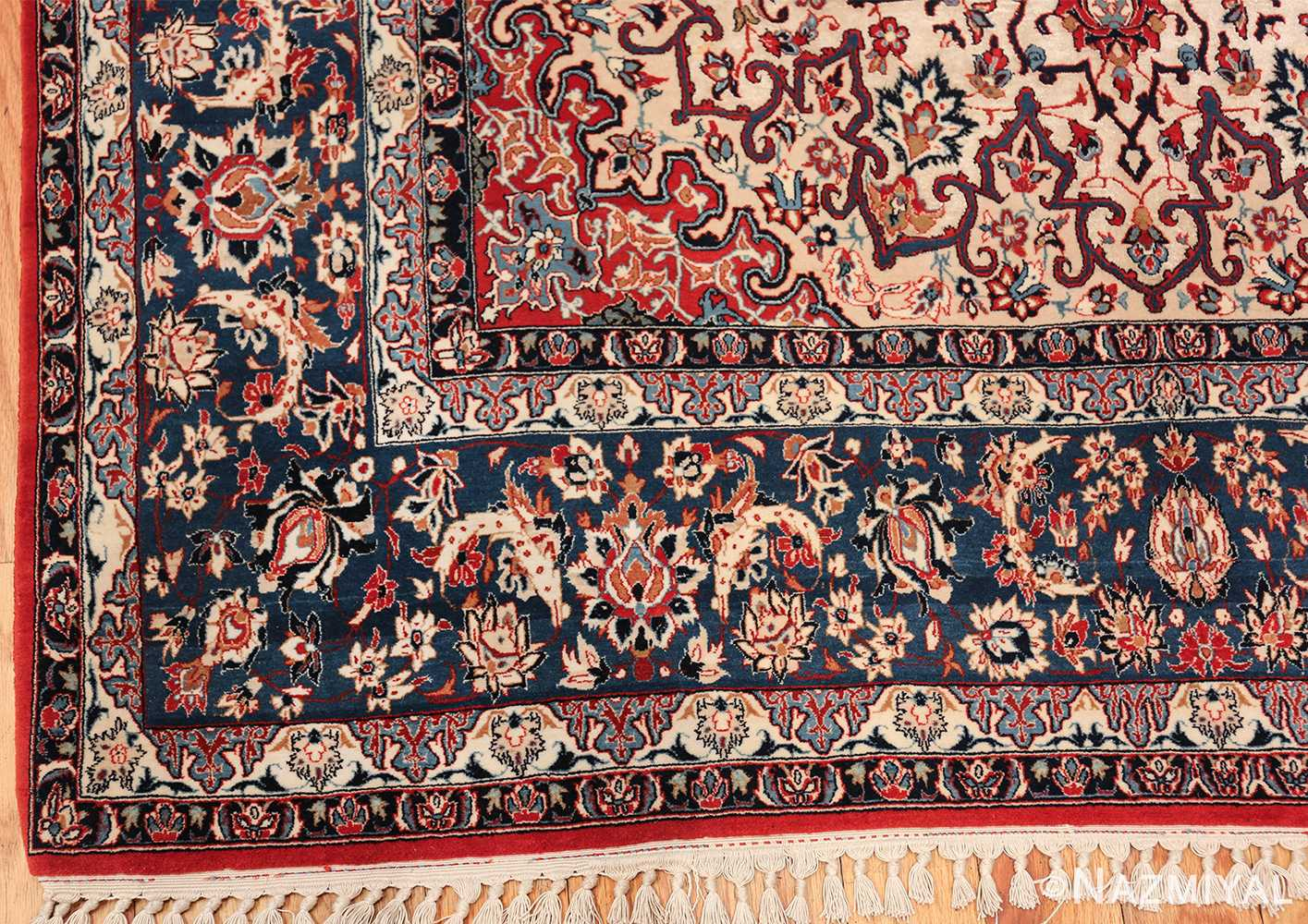 Persian Silk Wool Vintage Isfahan Seyrafian Rug 49619 Nazmiyal